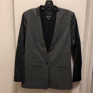 Trouve Gray Blazer with Black Pleather Sleeves, SM